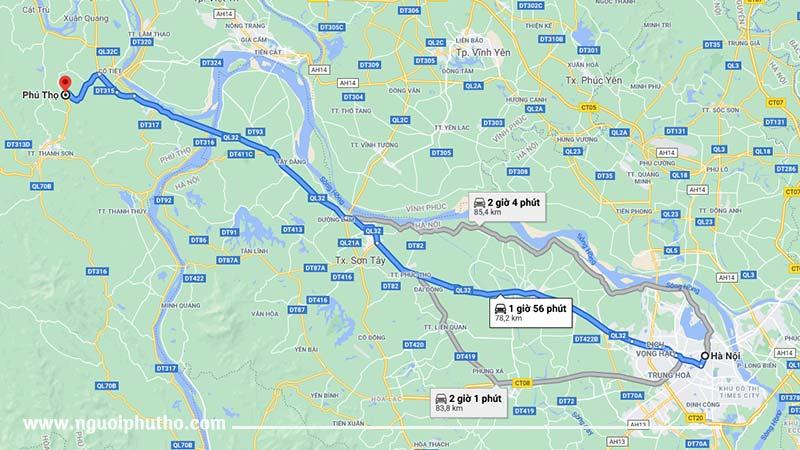 Phú Thọ cách Hà Nội bao nhiêu km?